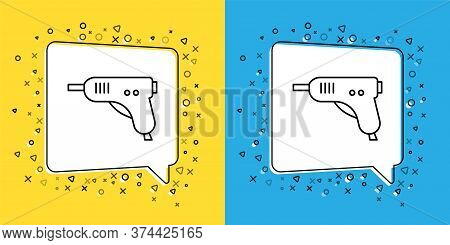 Set Line Electric Hot Glue Gun Icon Isolated On Yellow And Blue Background. Hot Pistol Glue. Hot Rep