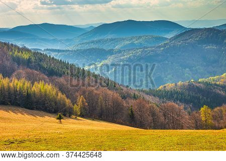 Landscape With Hills Covered With Forests. The Strazov Mountains  In Slovakia, Europe.