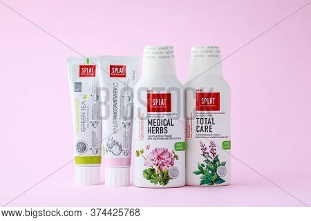 Kharkiv, Ukraine, July 2, 2020: A Line Of Toothpastes And Oral Care Foam Of The Splat Brand. A Bottl