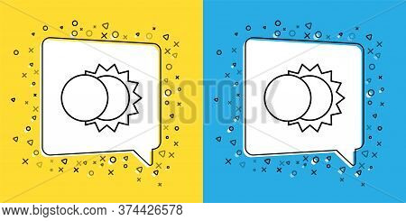 Set Line Eclipse Of The Sun Icon Isolated On Yellow And Blue Background. Total Sonar Eclipse. Vector