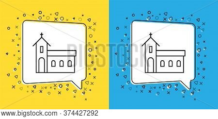 Set Line Church Building Icon Isolated On Yellow And Blue Background. Christian Church. Religion Of