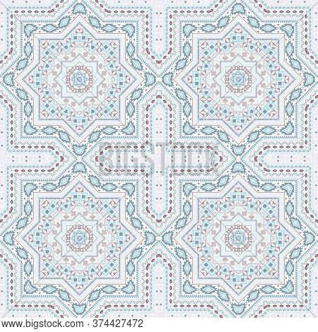 Retro Italian Maiolica Tile Seamless Pattern. Ethnic Structure Vector Patchwork. Textile Print Desig