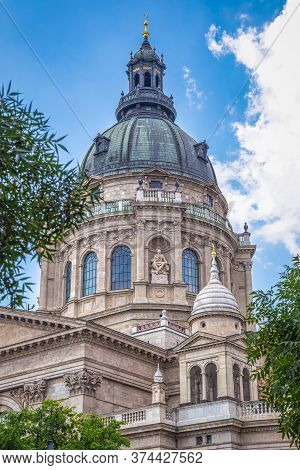 The Dome Of The St. Stephen's Basilica In Budapest, Hungary, Europe.