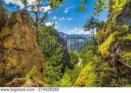 Mountainous Landscape With A Rocky Strait On A Sunny Morning. Vratna Valley In Mala Fatra National P