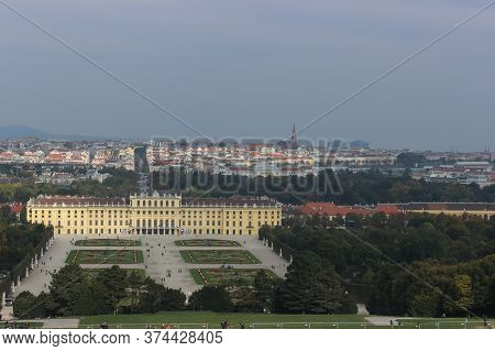 Vienna, Austria - October 12, 2015: Beautiful View Of The Schonbrunn Palace And The Panorama Of Vien