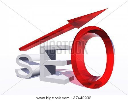Concept or conceptual 3D red glass SEO symbol with arrow pointing up isolated on white background as a metaphor for business,website,optimize,strategy,success,traffic or information
