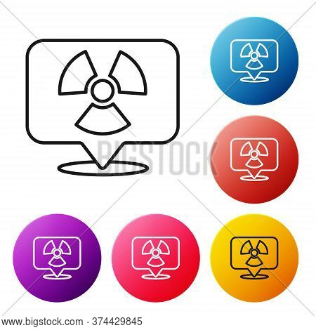 Black Line Radioactive In Location Icon Isolated On White Background. Radioactive Toxic Symbol. Radi