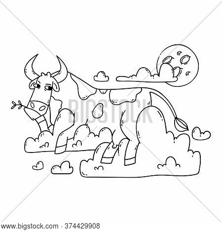 Cow Resting On The Clouds And Looking At The Moon. Relax And Dreaming. Funny, Humor, Cartoon Animal
