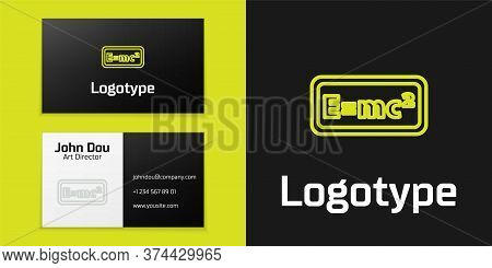 Logotype Line Math System Of Equation Solution Icon Isolated On Black Background. E Equals Mc Square