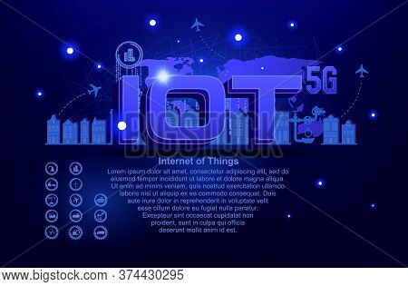 Iot Internet Of Things And Network Concept For Connected Devices. Web Of Network Connections On Futu