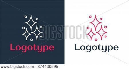 Logotype Line Firework Icon Isolated On White Background. Concept Of Fun Party. Explosive Pyrotechni