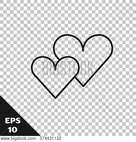 Black Line Heart Icon Isolated On Transparent Background. Romantic Symbol Linked, Join, Passion And