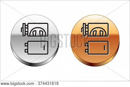 Black Line Crematorium Icon Isolated On White Background. Silver-gold Circle Button. Vector