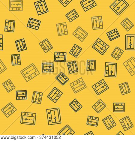 Blue Line Beat Dead In Monitor Icon Isolated Seamless Pattern On Yellow Background. Ecg Showing Deat