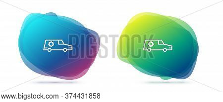 Set Line Hearse Car Icon Isolated On White Background. Abstract Banner With Liquid Shapes. Vector