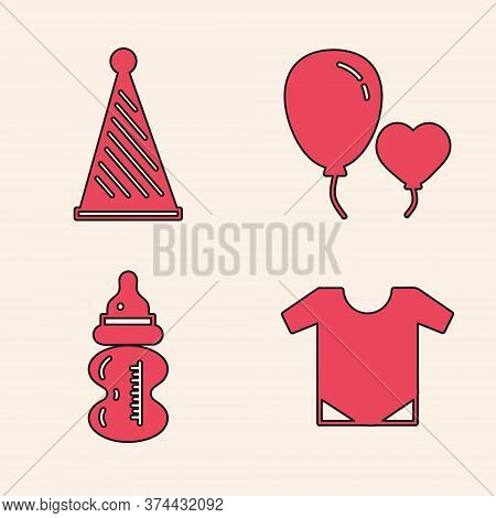 Set Baby Onesie, Party Hat, Balloons In Form Of Heart And Baby Bottle Icon. Vector