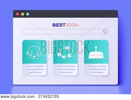 Set Rattle Baby Toy, Happy Little Boy Head And Cake With Burning Candles Icon. Vector