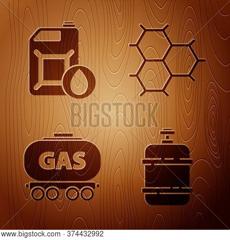 Set Propane Gas Tank, Canister For Motor Machine Oil, Gas Railway Cistern And Chemical Formula Consi