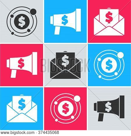 Set Target With Dollar Symbol, Megaphone And Dollar And Envelope With Coin Dollar Icon. Vector