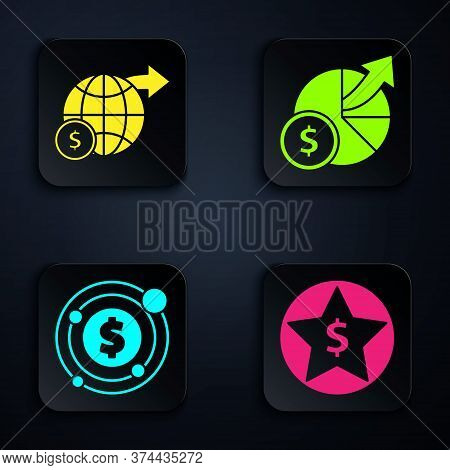 Set Star And Dollar, Earth Globe With Dollar, Target With Dollar Symbol And Money And Diagram Graph.