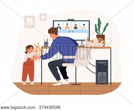 Cute Female Kid And Cat Distracting Father From Work Vector Flat Illustration. Modern Man Working Re