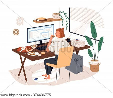 Freelancer Female Eat Junk Food Working Use Computer Vector Flat Illustration. Woman Sit On Desk Eat