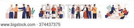 Set Of Diverse Team Congratulates Colleague Vector Flat Illustration. Collection Of People Celebrate