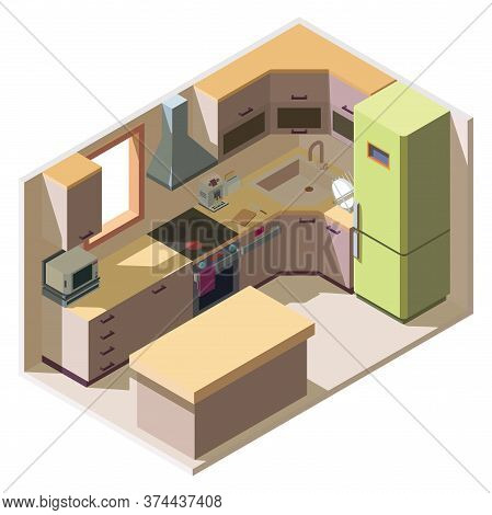 Vector Isometric Modern Kitchen Interior Isolated On White Background. Kitchen Room With Furniture,