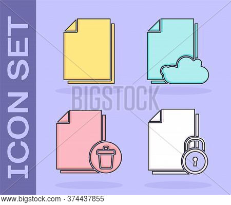 Set Document And Lock, Document, Delete File Document And Cloud Storage Text Document Icon. Vector