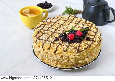 Classic Napoleon Cake. Delicious Festive Layered Dessert With Puff Pastry And Custard Decorated With