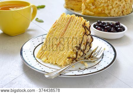 Classic Napoleon Cake. A Piece Of Delicious Festive Layered Dessert With Puff Pastry And Custard. Tr