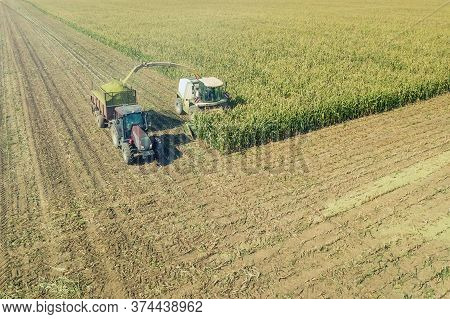 Agriculture Cutting Silage And Filling Trailer In Field Aerial View
