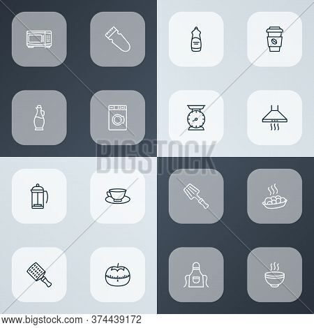 Gastronomy Icons Line Style Set With Hand Grater, Hot Soup, Coffee Cup Jug Elements. Isolated Vector