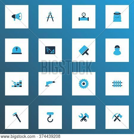 Construction Icons Colored Set With Drawing With Adaption, Pipe With Sensor, Bricklaying And Other R