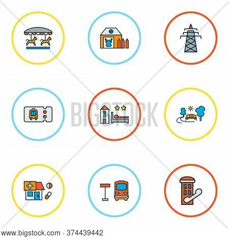 Public. Skyline Icons Colored Line Set With Farm House, Transport Ticket, Telephone Box And Other Ou