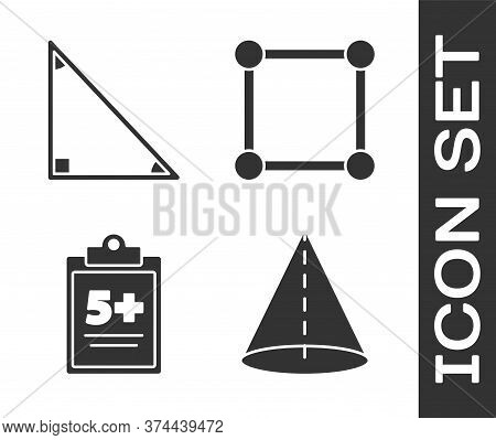Set Geometric Figure Cone, Triangle Math, Test Or Exam Sheet And Geometric Figure Square Icon. Vecto