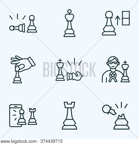 Chess Icons Line Style Set With Hand With Bishop, Pawn Beats Pawn, Chess Rook Strategy Elements. Iso