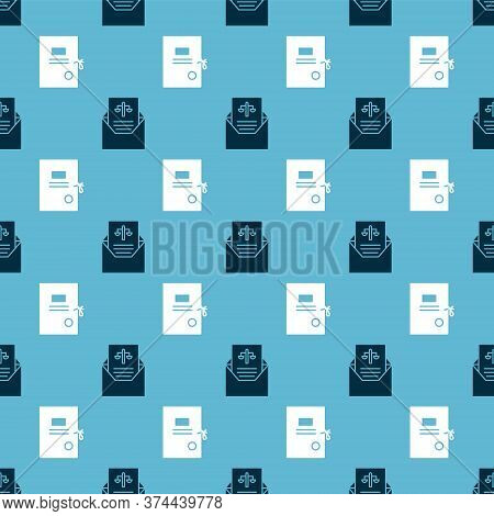 Set Subpoena And Lawsuit Paper On Seamless Pattern. Vector