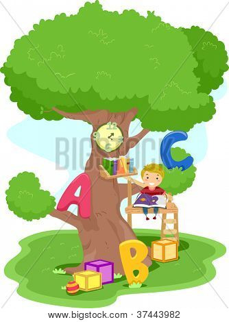 Illustration of a Boy Reading in a Treehouse