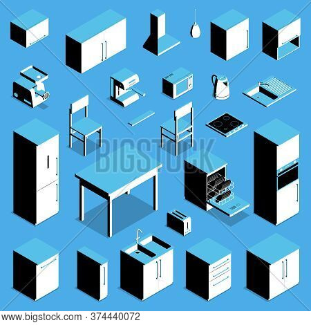 Isometric Icons Set With Kitchen Table Fridge Cooker Kettle Chair Counter Cupboard Isolated On Blue
