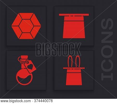Set Magician Hat And Rabbit Ears, Magic Stone, Magician Hat And Bottle With Love Potion Icon. Vector