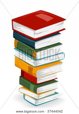 Illustration of a Tall Stack of Books with Different Covers
