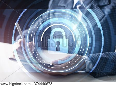 Cyber Security And Data Privacy Protection. Virtual Locking Padlock Element. Double Exposure Concept