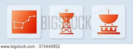 Set Satellite Dish, Great Bear Constellation And Satellite Dish. White Square Button. Vector