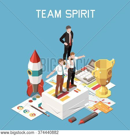 Isometric And Colored Soft Skills Concept With Team Spirit Headline And Three Colleagues Support Eac