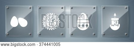 Set Burning Candle, Cracked Egg, Easter Egg In A Wicker Nest And Easter Eggs. Square Glass Panels. V