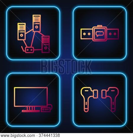 Set Line Air Headphones, Smart Tv, Computer Network And Smartwatch. Gradient Color Icons. Vector