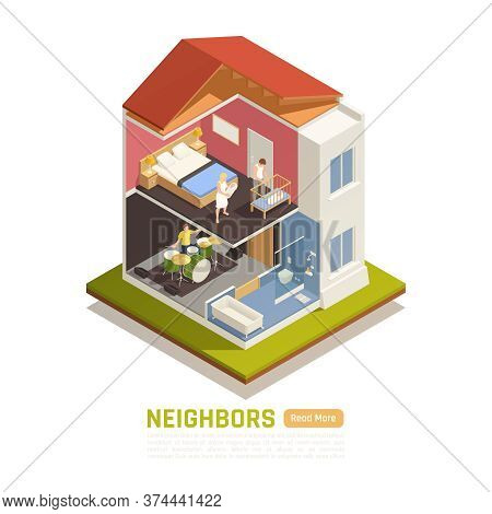 Neighbors Relations Conflicts Baby Parents Suffering From Loud Music From Below Isometric Building C