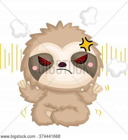 A Vector Of A Cute Angry Sloth