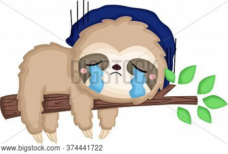 a vector of a sloth being really sad